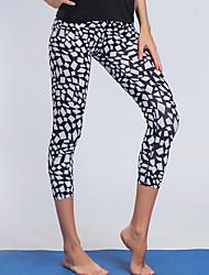 baratos -BARBOK Mulheres Calças de Yoga - Preto / Branco Esportes Reativo Meia-calça Corrida, Fitness, Ginásio Roupas Esportivas Leve, Secagem Rápida, Respirável Com Stretch
