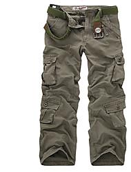 Недорогие -Муж. Армия Чино Брюки Однотонный камуфляж
