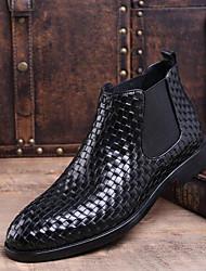 Недорогие -Муж. Ботильоны Кожа Зима Ботинки Ботинки Черный