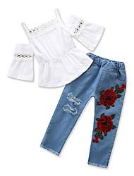 Недорогие -Дети (1-4 лет) Девочки Однотонный Рукав до локтя / С короткими рукавами Набор одежды