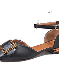 cheap -Women's Shoes PU(Polyurethane) Summer Comfort Flats Low Heel Round Toe Black / Beige / Almond