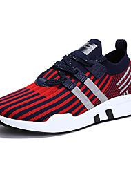 baratos -Homens sapatos Micofibra Sintética PU / Couro Ecológico / Tule Outono Conforto Tênis Caminhada / Corrida Preto / Preto / Vermelho / Black