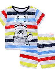 abordables -bébé Unisexe Imprimé / Arc-en-ciel Manches Courtes Ensemble de Vêtements