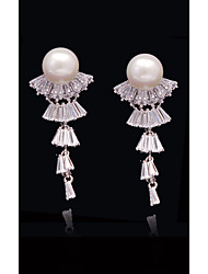 cheap -Women's Crystal / Cubic Zirconia Tassel / Long - Pearl, S925 Sterling Silver Princess, Flower, Carrot European, Fashion White and Sliver For Street / Holiday
