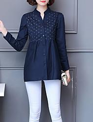 abordables -Mujer Algodón Camisa, Escote en Pico Floral