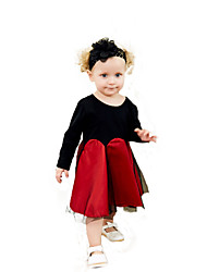 cheap -Kids Girls' Black & Red Solid Colored / Patchwork Long Sleeve Dress