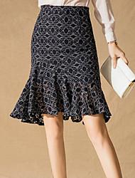 cheap -women's asymmetrical trumpet / mermaid skirts - color block