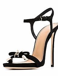 preiswerte -Damen Schuhe Leder Sommer Pumps / Komfort Sandalen Stöckelabsatz für Schwarz