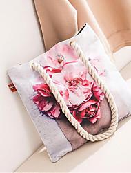 preiswerte -Damen Taschen Segeltuch Umhängetasche Muster / Druck für Einkauf / Ausgehen Rote / Rosa / Grau
