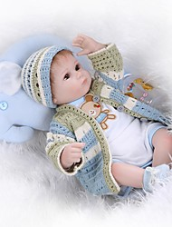 cheap -NPKCOLLECTION Reborn Doll 18 inch Silicone - lifelike, Hand Applied Eyelashes, Tipped and Sealed Nails Kid's Unisex Gift / Artificial Implantation Brown Eyes / CE Certified / Floppy Head