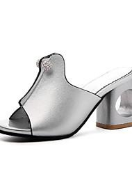 abordables -Femme Chaussures Polyuréthane Printemps été Nouveauté / A Bride Arrière Sandales Talon Bottier Bout ouvert Strass Noir / Argent / Beige