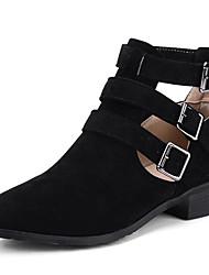 preiswerte -Damen Schuhe Nubukleder Frühling Sommer Springerstiefel Stiefel Blockabsatz Spitze Zehe Mittelhohe Stiefel Schnalle Schwarz / Beige /