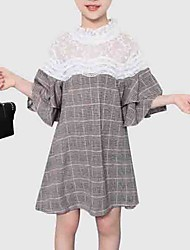 cheap -Kids Girls' Street chic Going out Plaid / Patchwork Lace / Patchwork Half Sleeve Dress
