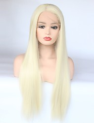 cheap -Synthetic Lace Front Wig Straight Blonde Middle Part 150% Density Synthetic Hair Heat Resistant / Women / Fashion Blonde Wig Women's Long Lace Front Light Blonde / Yes