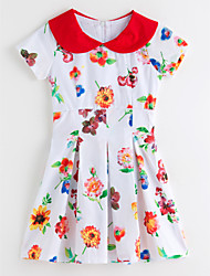cheap -Girl's Floral Dress, Polyester Summer Short Sleeves Floral White