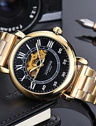 preiswerte -Herrn Militäruhr / Mechanische Uhr Japanisch Chronograph / Transparentes Ziffernblatt / Cool Echtes Leder Band Luxus / Freizeit Schwarz / Braun / Edelstahl / Automatikaufzug