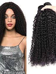 baratos -3 pacotes Cabelo Indiano Encaracolado Cabelo Humano Cabelo Humano Ondulado / Extensões de Cabelo Natural Tramas de cabelo humano Melhor qualidade / Nova chegada / Para Mulheres Negras Côr Natural