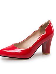 Недорогие -Жен. Обувь Лакированная кожа / Полиуретан Весна / Лето Удобная обувь Обувь на каблуках На толстом каблуке Черный / Красный / Миндальный