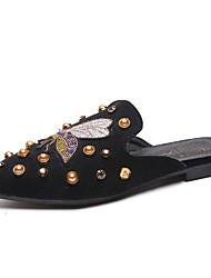 Недорогие -Жен. Обувь Полиуретан Лето Удобная обувь Башмаки и босоножки Для прогулок На плоской подошве Заостренный носок Черный / Хаки