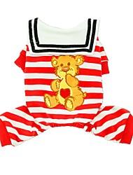 preiswerte -Hunde / Katzen / Haustiere T-shirt Hundekleidung Gestreift / Liebe / Cartoon Design Rot / Blau Baumwolle Kostüm Für Haustiere Weiblich