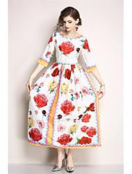 abordables -Mujer Tallas Grandes Chic de Calle / Sofisticado Delgado Vaina Vestido - Retazos / Estampado, Floral Maxi / Primavera / Verano / Patrones florales