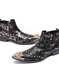 abordables -Homme Chaussures de nouveauté Cuir Nappa Automne Bottes Bottes Mi-mollet Noir et Or
