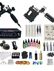 abordables -BaseKey Machine à tatouer Kit pour débutant - 2 pcs Machines de tatouage avec 7 x 15 ml encres de tatouage, Professionnel, Kits Alliage LCD alimentation Case Not Included 20 W 2 x Machine à tatouer