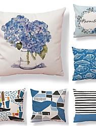 abordables -6 pcs Tissu / Coton / Lin Taie d'oreiller, Géométrique / Décoration artistique / Imprimé Forme carrée / Dessin Animé