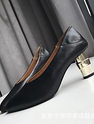 preiswerte -Damen Schuhe Leder Sommer / Winter Pumps High Heels Blockabsatz Weiß / Schwarz