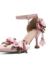 cheap -Women's Shoes Leatherette Summer Comfort Heels Stiletto Heel Pointed Toe White / Pink / Party & Evening