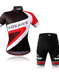 economico -WOSAWE Per uomo Manica corta Maglia con pantaloncini da ciclismo - Nero / Rosso Bicicletta Maglietta / Maglia / Pantaloncini imbottiti di protezione / Set di vestiti, Strisce riflettenti