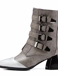 baratos -Mulheres Sapatos Couro Ecológico Outono Coturnos Botas Salto Robusto Dedo Apontado Botas Cano Médio Preto / Cinzento