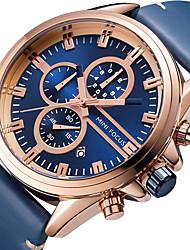 preiswerte -MINI FOCUS Herrn Armbanduhr Kalender / Chronograph / Stopuhr Echtes Leder Band Luxus / Freizeit Schwarz / Blau / Großes Ziffernblatt