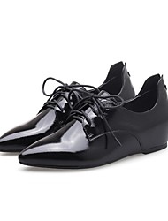 cheap -Women's Shoes Leather Spring & Summer Mary Jane Oxfords Low Heel Black / Wine