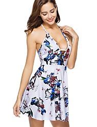 baratos -Mulheres Bainha / Rodado Vestido - Estampado, Floral Acima do Joelho