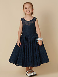 cheap -Princess Tea Length Flower Girl Dress - Lace Sleeveless Jewel Neck with Bow(s) by LAN TING BRIDE®