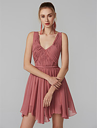 cheap -A-Line V Neck Short / Mini Chiffon / Tulle Beautiful Back Cocktail Party Dress with Ruffles / Pleats by TS Couture®