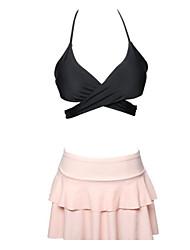 preiswerte -Damen Bikinis - Rückenfrei Rüsche mit Schnürung, Solide Unterhosen
