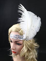abordables -Gatsby le magnifique Rétro / Années 20 Costume Femme Bandeau Garçonne Blanc Vintage Cosplay Plume Sans Manches