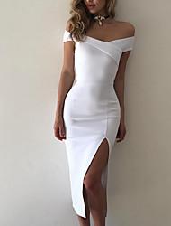 6985601ed7f Damen Ausgehen Skinny Bodycon Kleid Solide Midi Tiefes V Hohe Taillenlinie    Schulterfrei   Sexy
