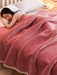 cheap -Coral fleece, Embossed Striped Polyester Blankets