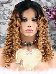 baratos -Cabelo Remy Peruca Cabelo Brasileiro Encaracolado Corte em Camadas 130% Densidade Com Baby Hair Loiro Curto / Longo / Comprimento médio