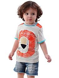 Недорогие -Дети / Дети (1-4 лет) Девочки Лев / Черный и серый С принтом / Пэчворк С короткими рукавами Футболка
