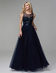 preiswerte -A-Linie Schmuck Boden-Länge Satin / Tüll Abiball / Formeller Abend Kleid mit Perlenstickerei durch TS Couture®