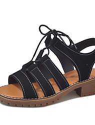 baratos -Mulheres Sapatos Camurça Verão Conforto Sandálias Caminhada Salto de bloco Ponta Redonda Preto / Bege / Amarelo