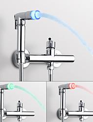 abordables -Moderne Montage mural Séparé Rotatif Soupape céramique Mitigeur deux trous Chrome, Robinet Bidet