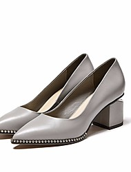 cheap -Women's Shoes Nappa Leather / Cowhide Spring / Fall Comfort / Basic Pump Heels Chunky Heel Black / Light Grey
