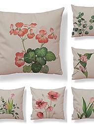 baratos -6 pçs Téxtil / Algodão / Linho Fronha, Floral / Art Deco / Estampado Simples / Forma Quadrada