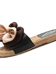cheap -Women's Shoes PU Fabric Summer Comfort Slippers & Flip-Flops Flat Heel Bowknot for Casual White Black