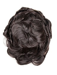 cheap -Men's Human Hair Toupees Wavy 100% Hand Tied / Hot Sale / New Arrival
